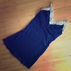 Guess Jeans White Lace Navy Blue Tank Top